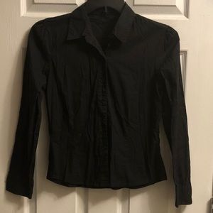 Black fitted button down top